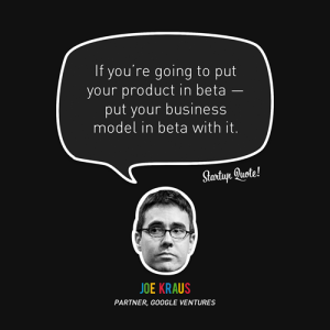 If you are going to pit your idea in beta- put your business model in beta with it!